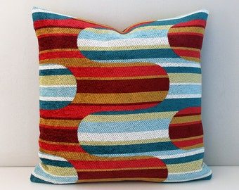 Red multi coloured chenille cushion cover