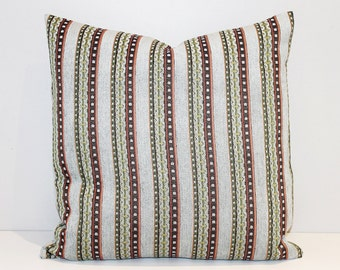 Light blue multi striped chenille cushion cover