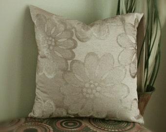 Tan satin floral chenille cushion cover