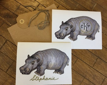 Hippo Note Cards, personalized