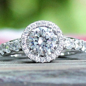 1.26 Ct Engagement ring Round Halo ring Fashion ring,Sterling filigree Vintage look Pave Engagement ring,ABIGAIL Simulated Diamond