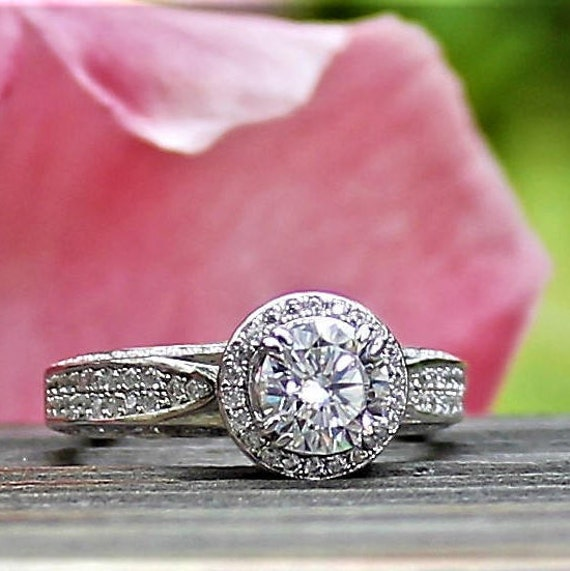 Round cut Vintage look pave set RAMONA Wedding Ring 1 ct Set Silver engagement ring set Rhodium coated simulated diamond