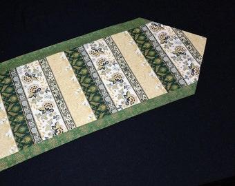 Gold and white table runner Modern table runner Holiday table runner  Gold green table runner  Christmas table runner