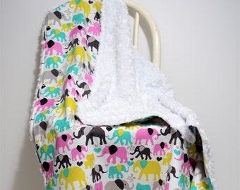 Minky Baby Blanket girl Baby Blanket aqua Baby Blanket elephant Toddler blanket pink nursery aqua nursery elephant bedding