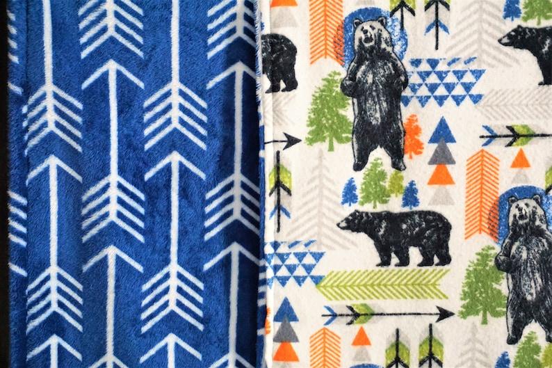 Bear Baby Blanket boy toddler blanket minky reversible woodland nursery blue tribal baby blanket arrow outdoor aventure nursery blue boy