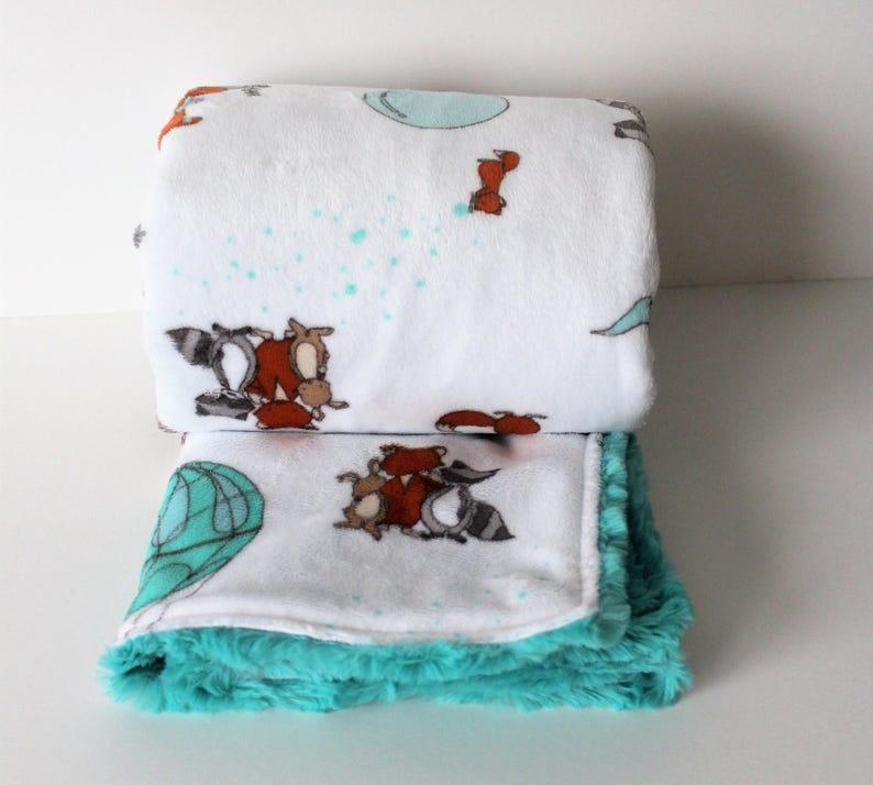Minky Baby Blanket hot air balloon nursery bedding teal nursery baby toddler gender neutral blanket minky fox nursery