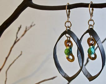 Recycled bicycle earrings