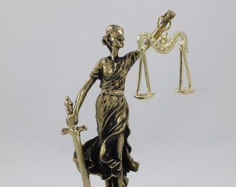 Greek Goddess Themis Statue Figurine Blind Lady Justice Lawyer Gift Bronze  Tone 4c84933dba
