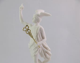 "Hermes Mercury God Son Of Zeus Greek Roman Statue Alabaster Museum Copy Art 10.2"" 26cm"