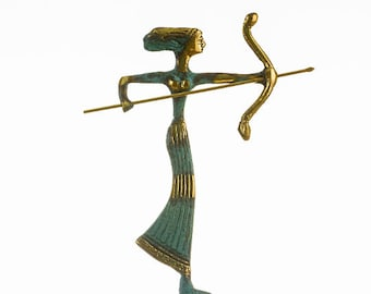 """Artemis Diana Greek Statue Nature Moon Goddess with Bow Solid Bronze 6.2"""""""