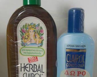 Vintage Clairol Herbal Essence Shampoo 1 Bottle 17oz 500ml No Alkaline Boxed plus 1 Bottle Clairol Conditioner Hair Cream