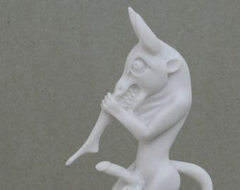"MINOTAUR Demon Bull Head eating a maiden Greek Alabaster Statue Sculpture 9.45"""