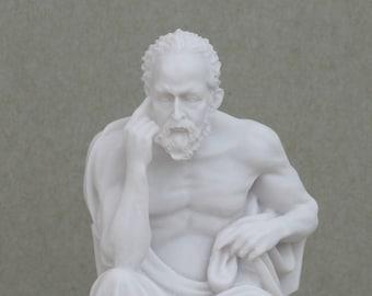 "Greek Philosopher SOCRATES Alabaster Statue Sculpture Athens Academy 6.7"""