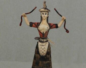 """Minoan Snake Goddess Statue Healer Messenger Priestess Sculpture 7.9"""" 20cm"""