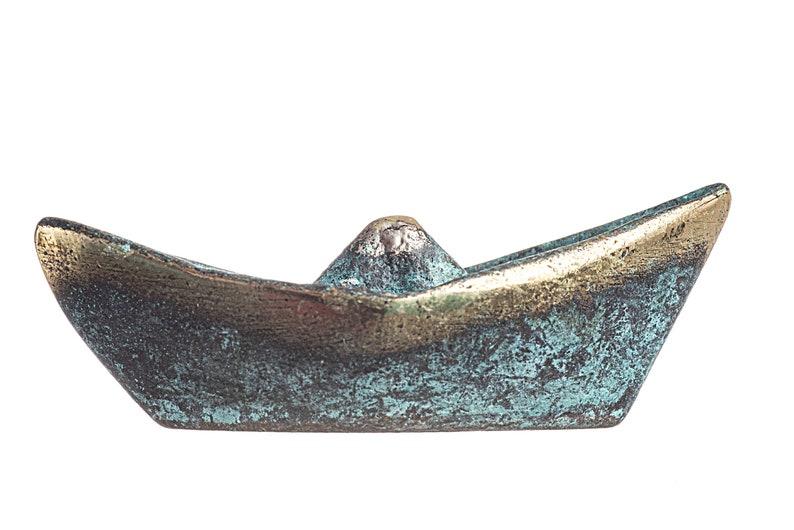 Greek Fishing Boat Ship Solid Bronze Decor Miniature Sculpture Green-Gold Oxidization