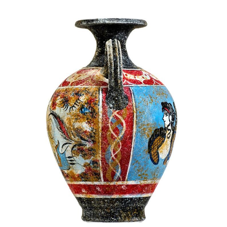 Ancient Greek Minoan Amphora Handmade Ceramic Pottery Vase With Fresco Mural Ladies in Blue