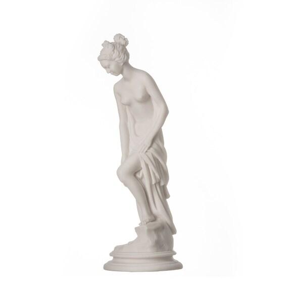 Nude Woman Statue Carrying Hydria Water Jar Ancient Greek Handmade Alabaster Sculpture 25cm