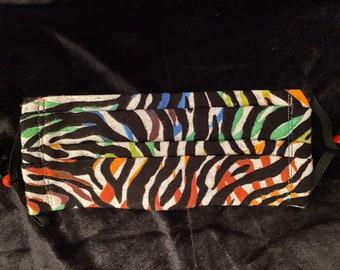 Colorful zebra face mask