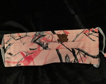 Pink forest/woods face mask