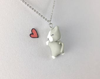 Cat Necklace // Polymer Clay Jewelry // Gray Cat Pendant // Cat Lover Gift