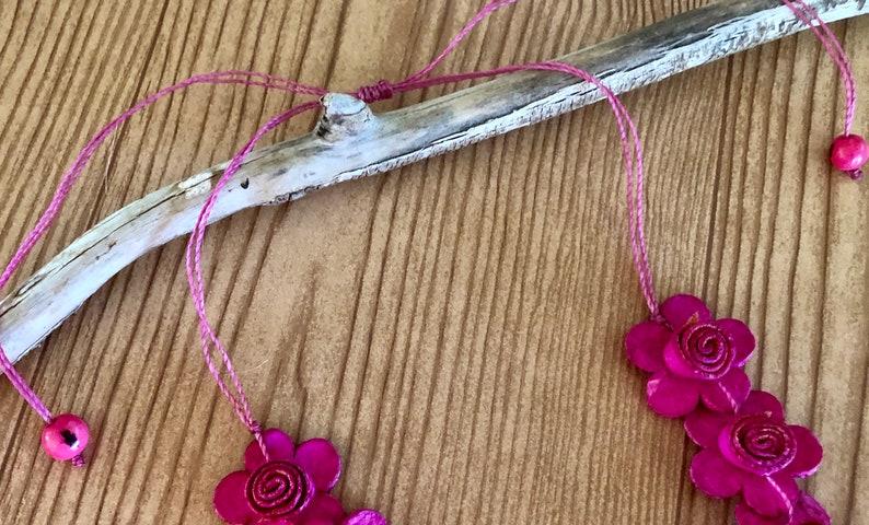 Eco-friendly Flowers Orange Peel Necklace  and Earrings Set New Bio-degradable Peruvian Handmade Set. Organic