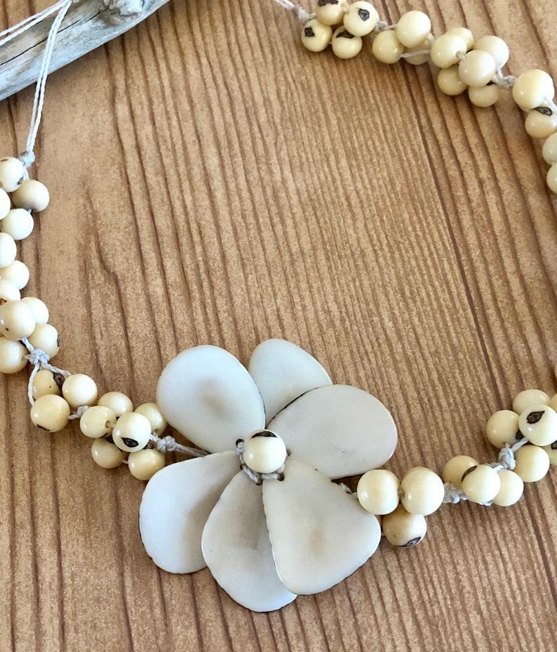 Eco-friendly bio-degradable organic Peruvian handmade set. Organic Flower Tagua Nut  and Asai Seeds Necklace and Earrings Set New