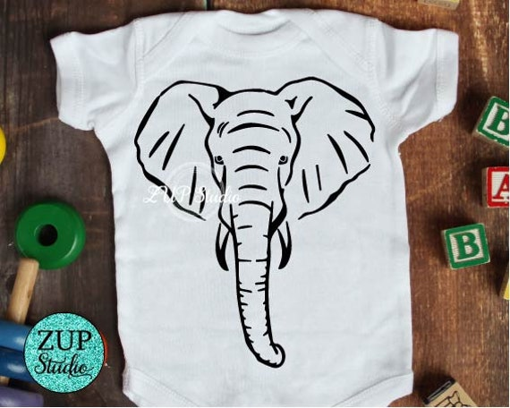 Elephant Face / Elephant Head Digital Cutting files Silhouette Cameo Cricut svg jpg png dxf eps for iron on heat transfer decals t-shirt 470