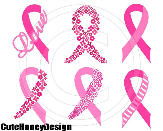 Breast Cancer Awareness Ribbon Digital Cutting File Silhouette Etsy
