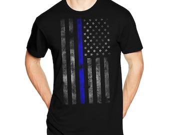 Thin Blue Line USA Flag Patriotic T-Shirt