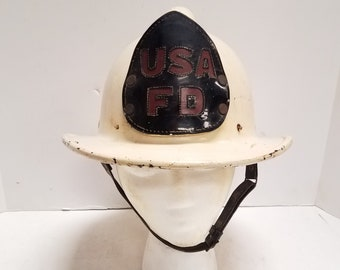 Rare Vintage Antique United States Army Fire Department, USA FD, Fireman Helmet Used in Germany By US Firefighters after WW2 1940's-50's