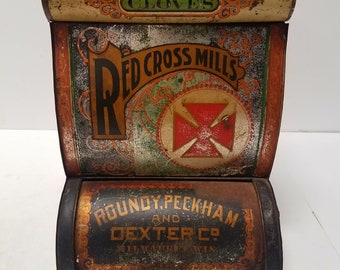 RARE Antique General Store Spice Bin. Red Cross Mills, Roundy, Peckman and Dexter . Milwaukee Wis. AMAZING Color