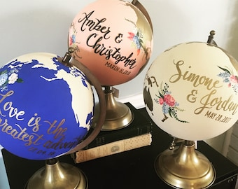 """9"""" custom globe in any color combo with floral details"""