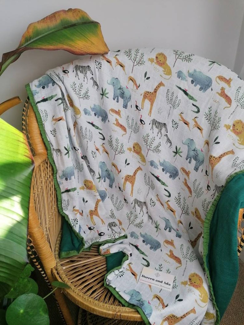 Perfect Gift for a Baby Shower Swaddle Blanket Supersoft Baby Shawl Jungle Safari Four Layer Muslin Blanket 120cm x 120cm