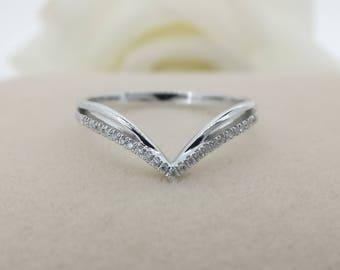 Alternative Half Eternity Wedding V-shaped Band in 18k White Gold, Diamond Wedding Ring,Diamond Wedding Band, Stackable Diamond band
