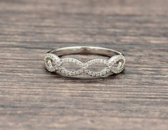 Wedding Ring On Sale.On Sale Criss Cross Diamond Ring In 18k White Gold Diamond Wedding Ring Eternity Ring Bridal Ring Stackable Ring