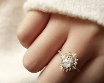 Moissanite vintage Unique Art deco engagement ring, Diamond Alternative, Bridal Jewelry, Engagement ring