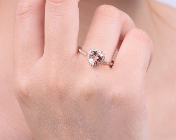 9dd9ade30ff0d Halo Heart shaped Morganite Engagement ring in solid 18k rose gold ,  Morganite and Diamond Engagement Ring, Alternative Engagement Ring