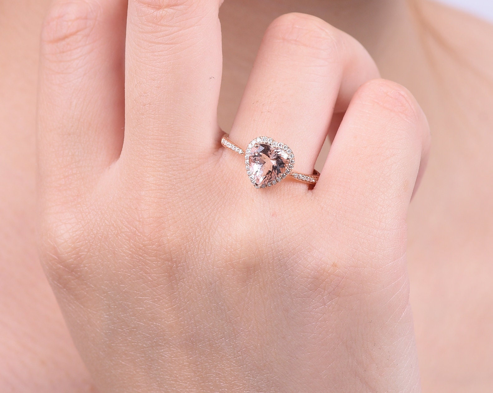 Halo Heart shaped Morganite Engagement ring in solid 18k rose | Etsy