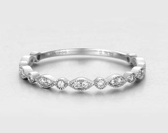 On Sale- Vintage Inspired Marquise Shape Half Eternity Wedding Band, Diamond Wedding Ring,Diamond Wedding Band, Stackable Diamond band