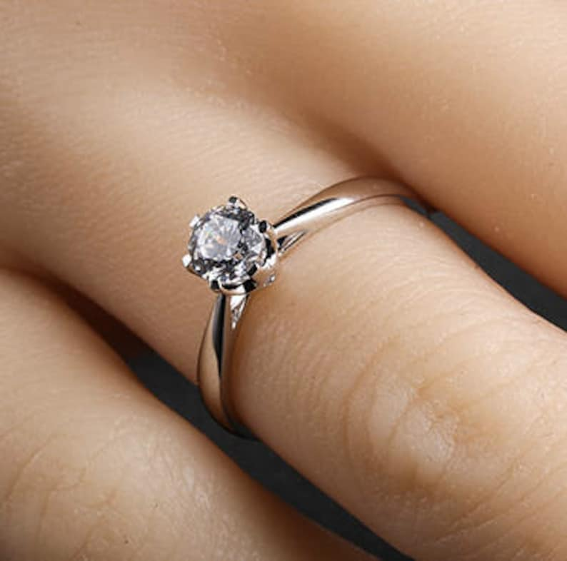 1e5370a654a6b 0.5 carat Brilliant Moissanite Classic Engagement ring with natural  diamonds in 14k white gold, Diamond Alternative engagement ring