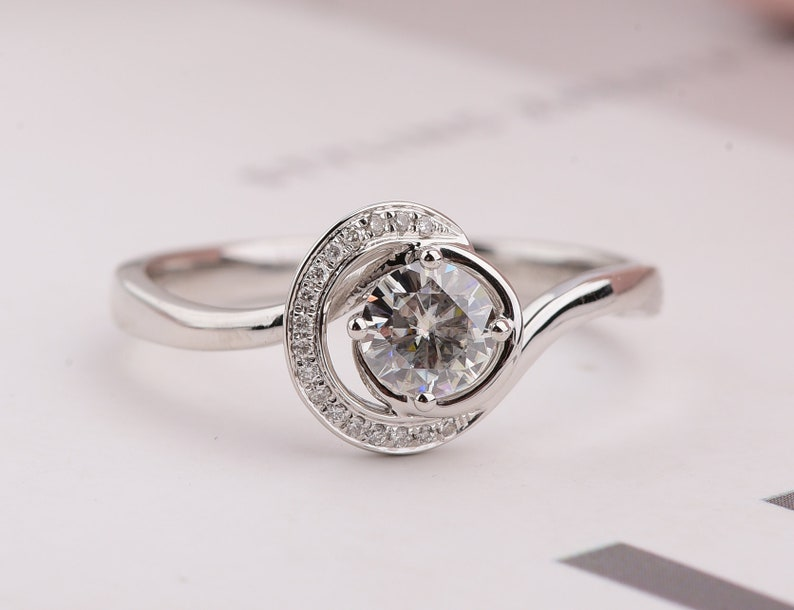 0bf6a1d747730 Free Shipping!! 0.5 carat Moissanite Engagement ring with twist band,  Diamond Alternative