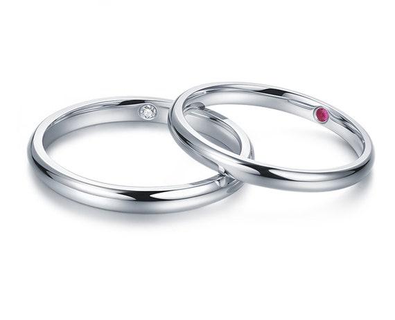 Classic Wedding Ring With Hidden Gem On Inside Wedding Rings Etsy