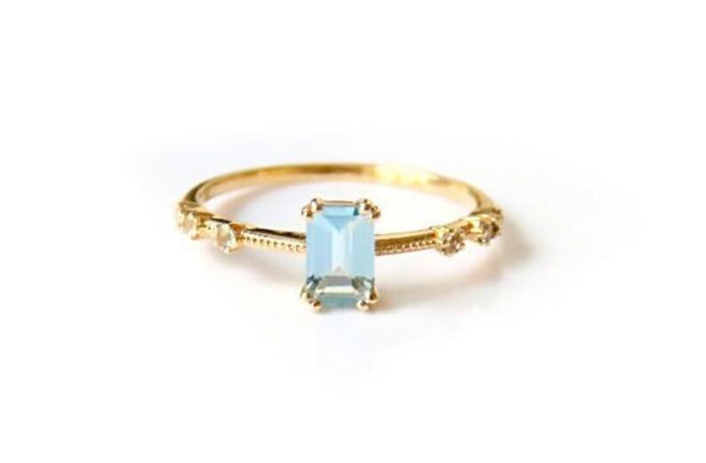 Emerald Cut aquamarine ring in solid 18k gold Alternative Engagement Ring Diamond Engagement Ring