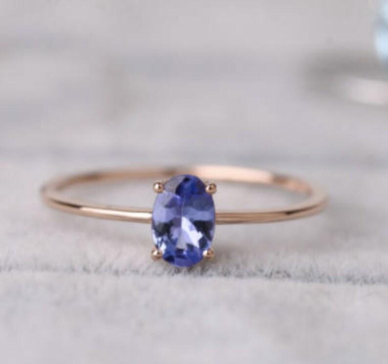 8299ece3f Tanzanite Oval Gemstone Ring 18K Rose Gold Engagement Ring | Etsy