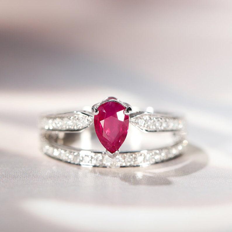 235af3f4fdc65 Ruby ring set in 18K White Gold, Diamond Engagement Ring, Bridal Set,  Eternity ring, Wedding set, White gold ring