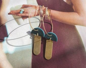 Clay + Brass Earrings // Half Moon // Brass Bar Hoops