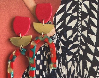 Tortoise Arch Earrings // Red // Red Multi Acetate