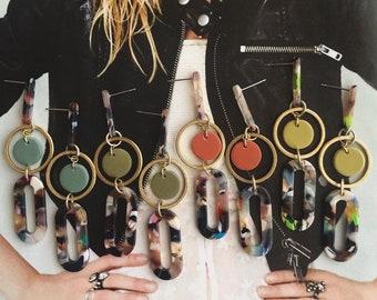 Clay + Brass // In Orbit Oval Hoop Drop Earrings