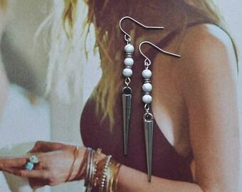 Silver Spike Earrings // Howlite