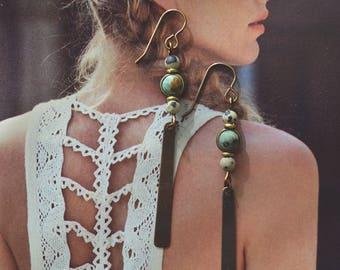 Brass Bar Earrings // African Turquoise / Dalmatian Jasper